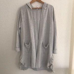Super Soft Long Gray Sweatshirt Wrap